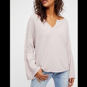 Free People dahlia thermal shirt top blouse sweate